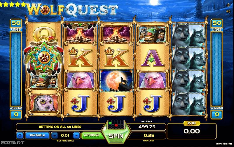 Wolf Quest slot machine screenshot