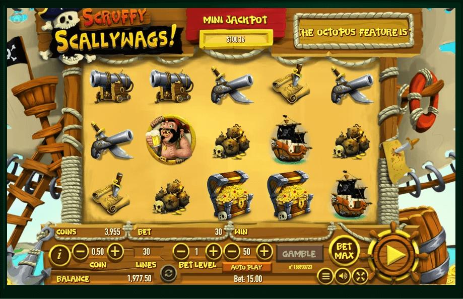 Scruffy Scallywags slot machine screenshot