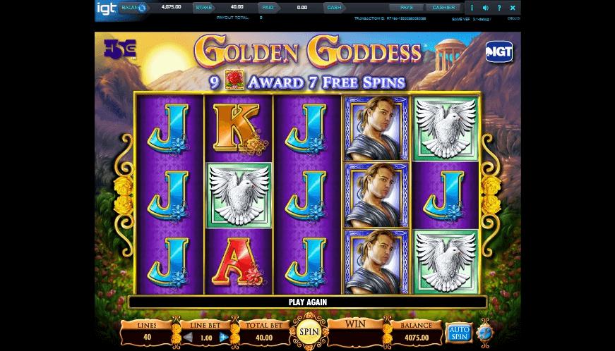 Golden Goddess slot machine screenshot