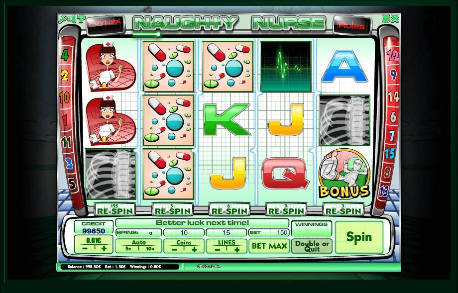 Naughty Nurse slot machine screenshot