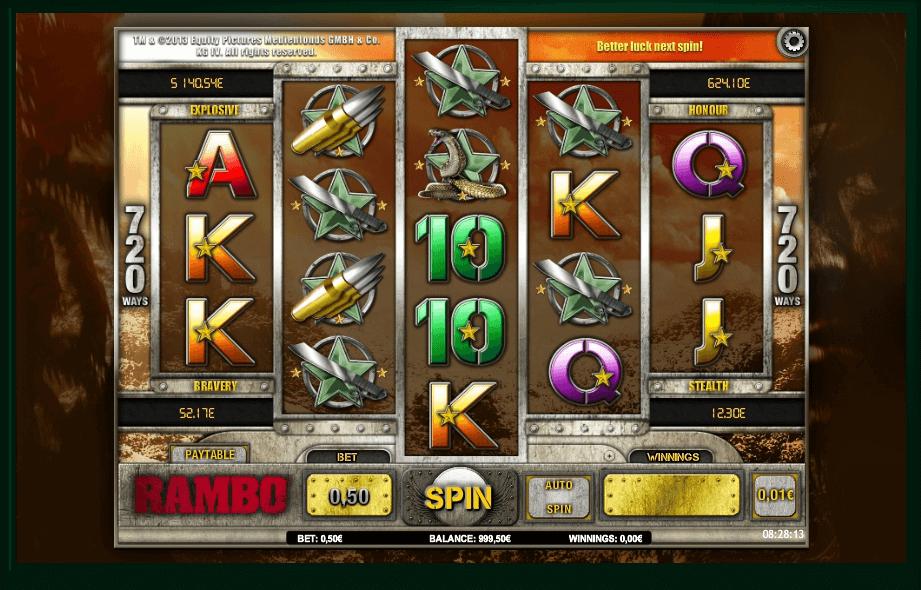 Rambo slot machine screenshot