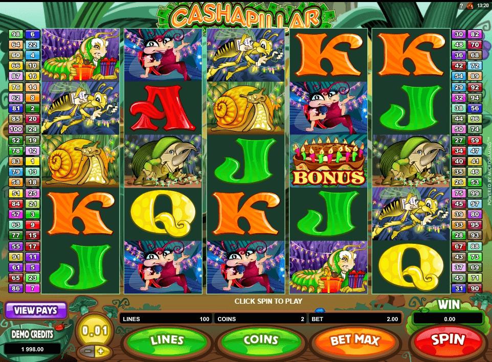 Cashapillar slot machine screenshot