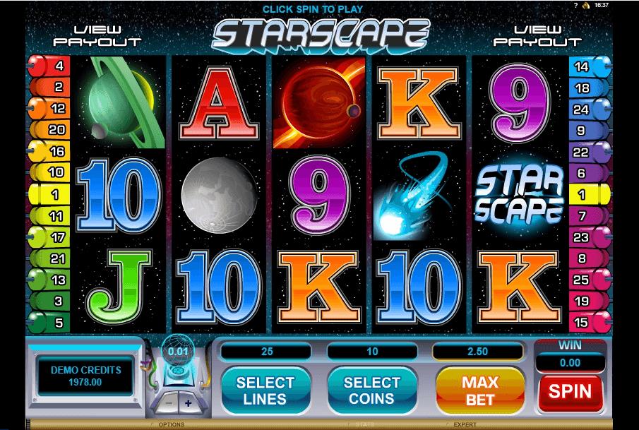 Starscape slot machine screenshot