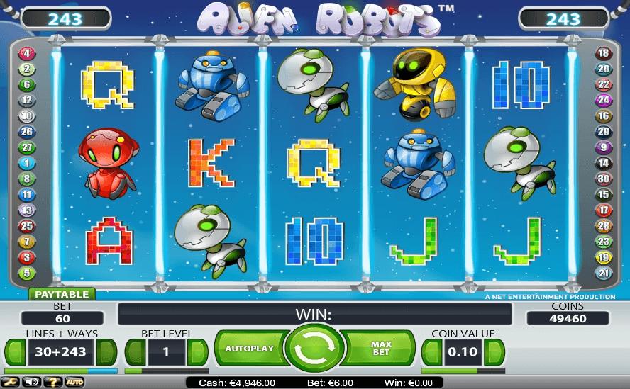 Alien Robots slot machine screenshot