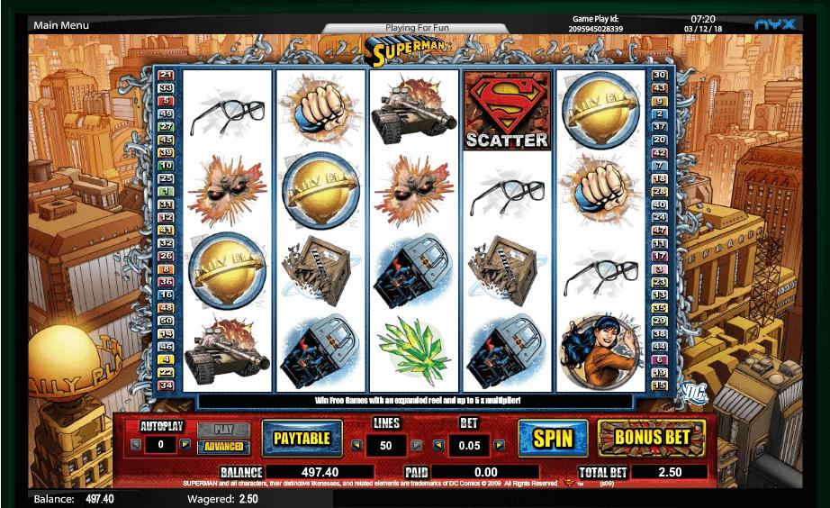 Superman slot machine screenshot