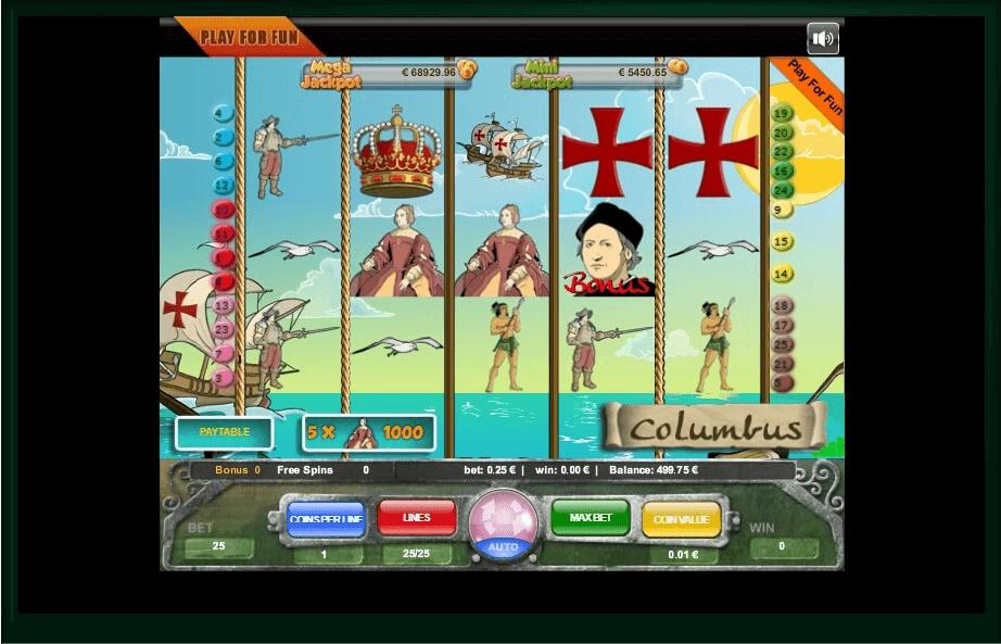 Columbus slot machine screenshot