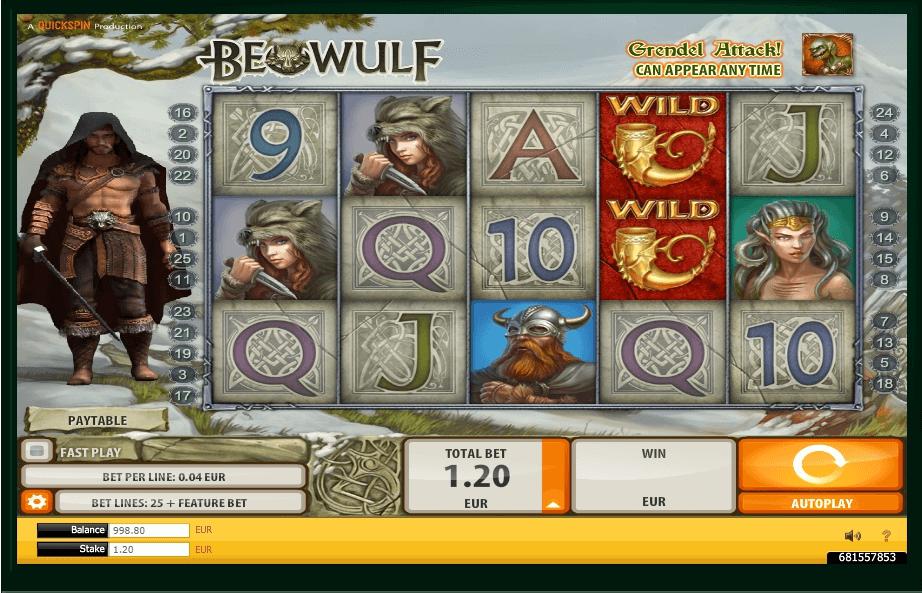 Beowulf slot machine screenshot