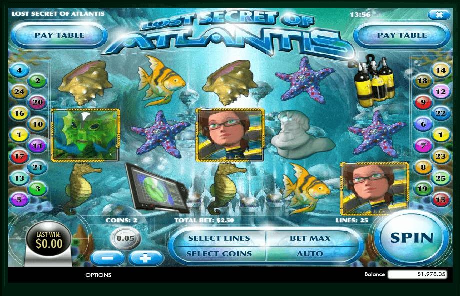 Lost Secret of Atlantis slot machine screenshot