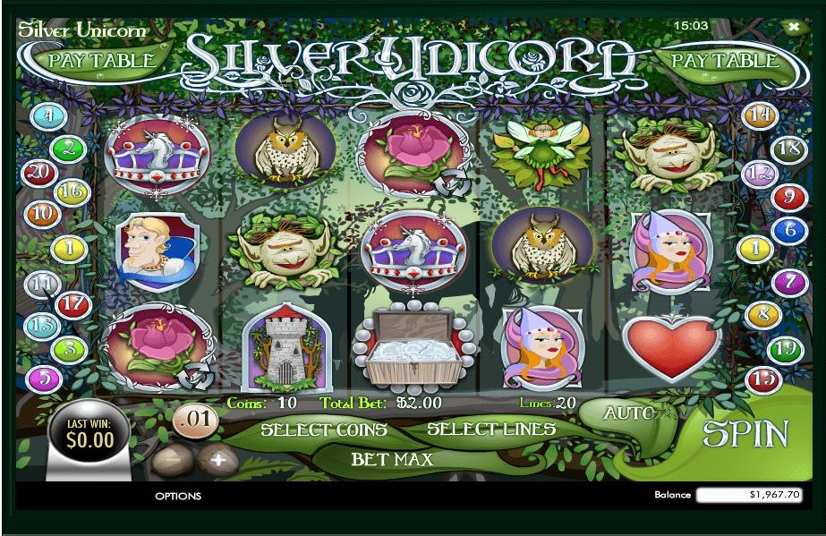 Silver Unicorn slot machine screenshot